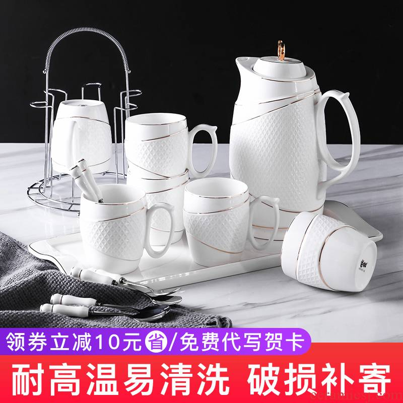 Ceramic water set suit sitting room glass European afternoon tea set suit with tray was home cold heat resistant glass kettle