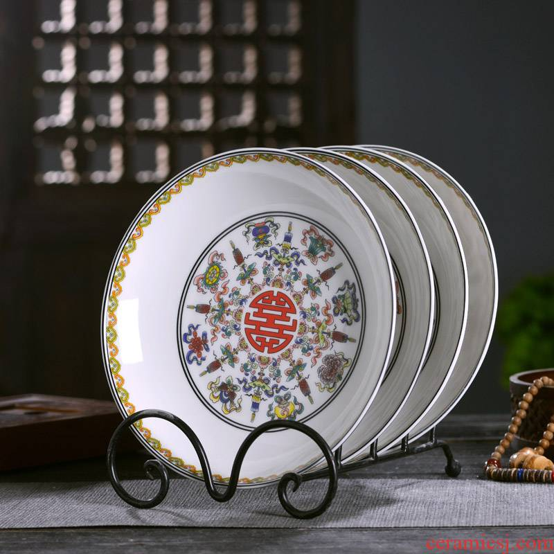 Jingdezhen ceramic household deep ipads porcelain ethnic Chinese sweet food dish plate antique plate deep nest soup tableware single plate