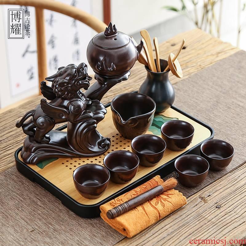 Bo yao all semi - automatic lazy people contracted tea tray teapot tea set ceramic office cup hot tea. preventer