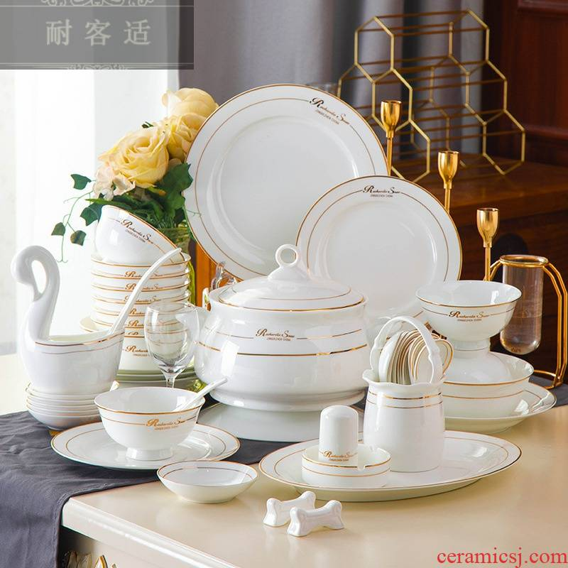 Hold to guest comfortable jingdezhen ceramic tableware an inset jades bowl plate ipads porcelain bowl dish household gift set LOGO