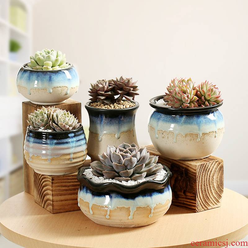 The End flow glaze fleshy flowerpot contracted indoor type coarse pottery small fleshy flower pot basin is accused of breathable ceramic flower pot