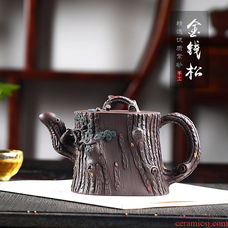 Xu ink are it undressed ore old purple clay red golden larch pure hand - made quality goods, the month contracted the teapot tea set