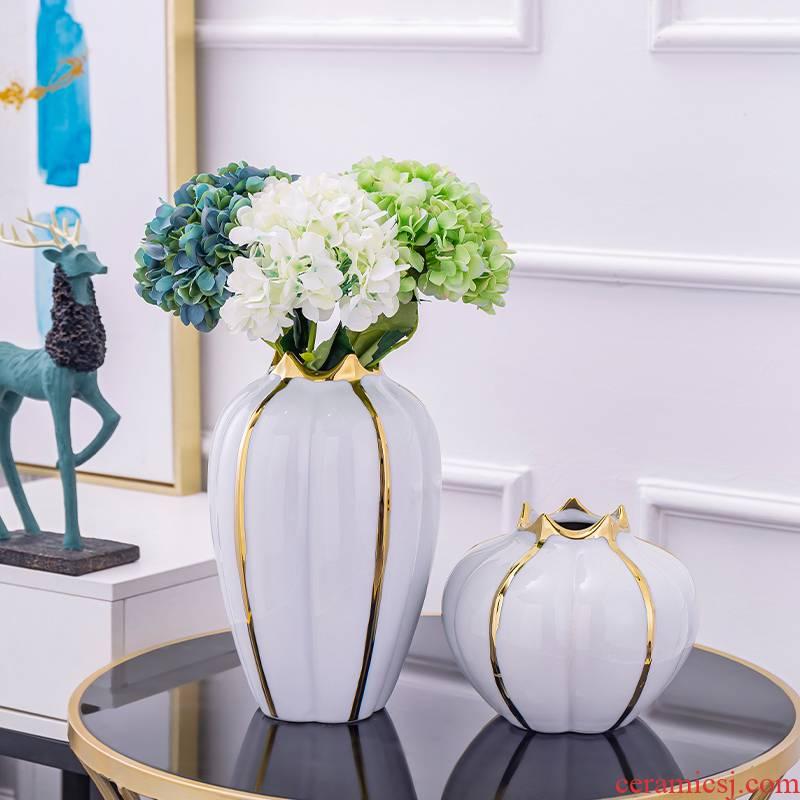Modern light key-2 luxury ceramic vase Modern living room TV cabinet table wine furnishing articles American dry flower decoration decoration