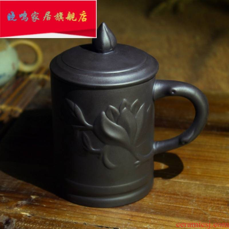 The violet arenaceous glass ceramic cups with cover kung fu cover cup to ultimately responds water single cup tea cup office cup tea cups