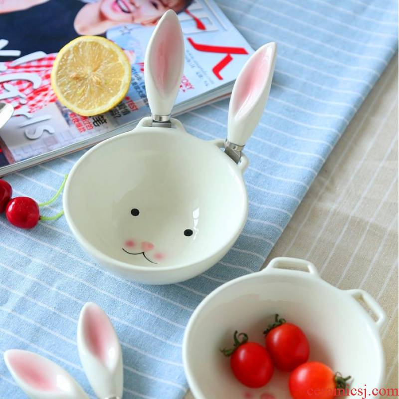 Jingdezhen creative ceramic tableware cartoon express lovely ice cream dessert bowl of fruit salad plate of rabbit to use