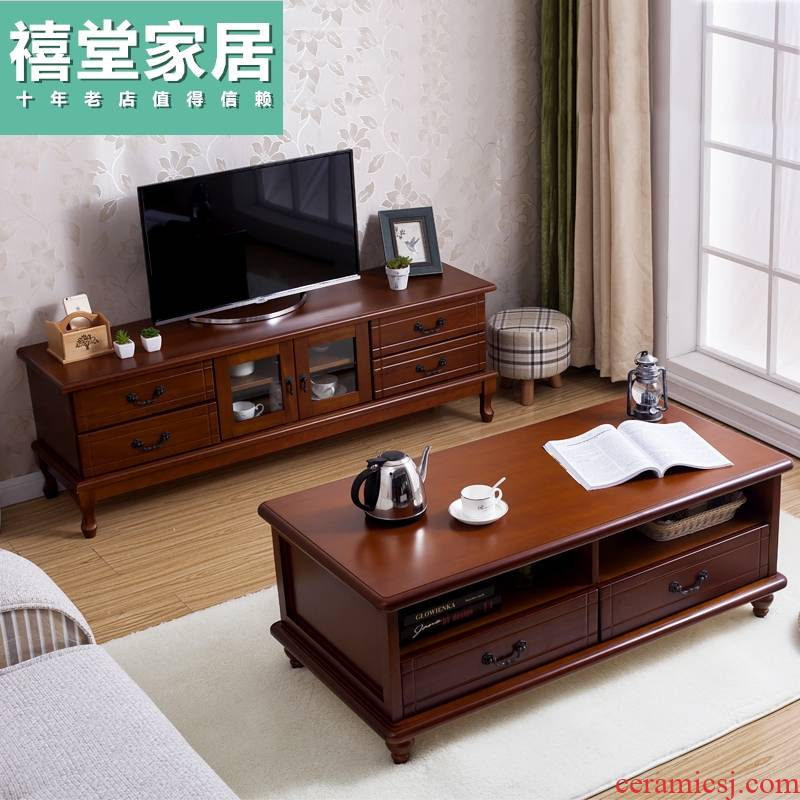 Solid wood tea table TV ark combination of I and contracted small family land for American home sitting room ark, European TV cabinet