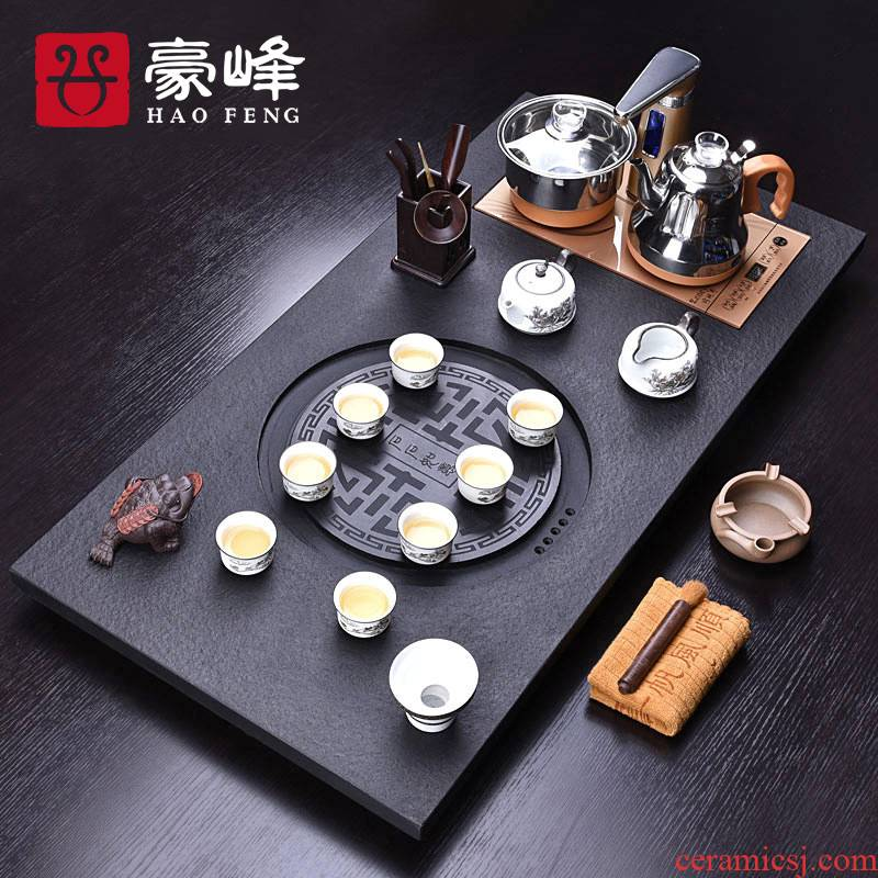 HaoFeng purple sand tea set home four unity sharply stone solid wood tea tray automatically kung fu tea tea tea