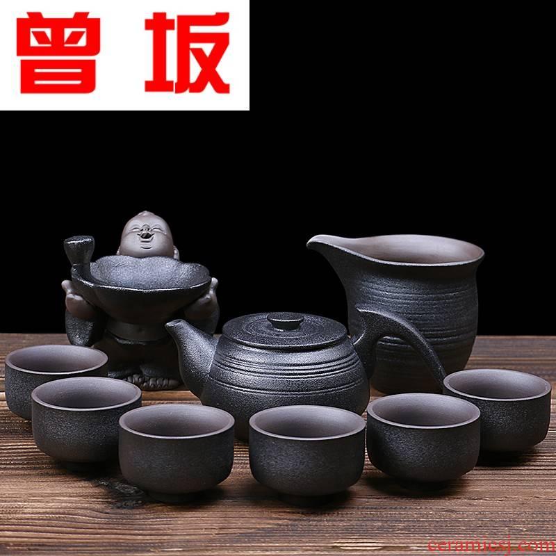 The Who -- black pottery violet arenaceous kung fu tea set home a whole set of ceramic tea set lid bowl set of tea cups