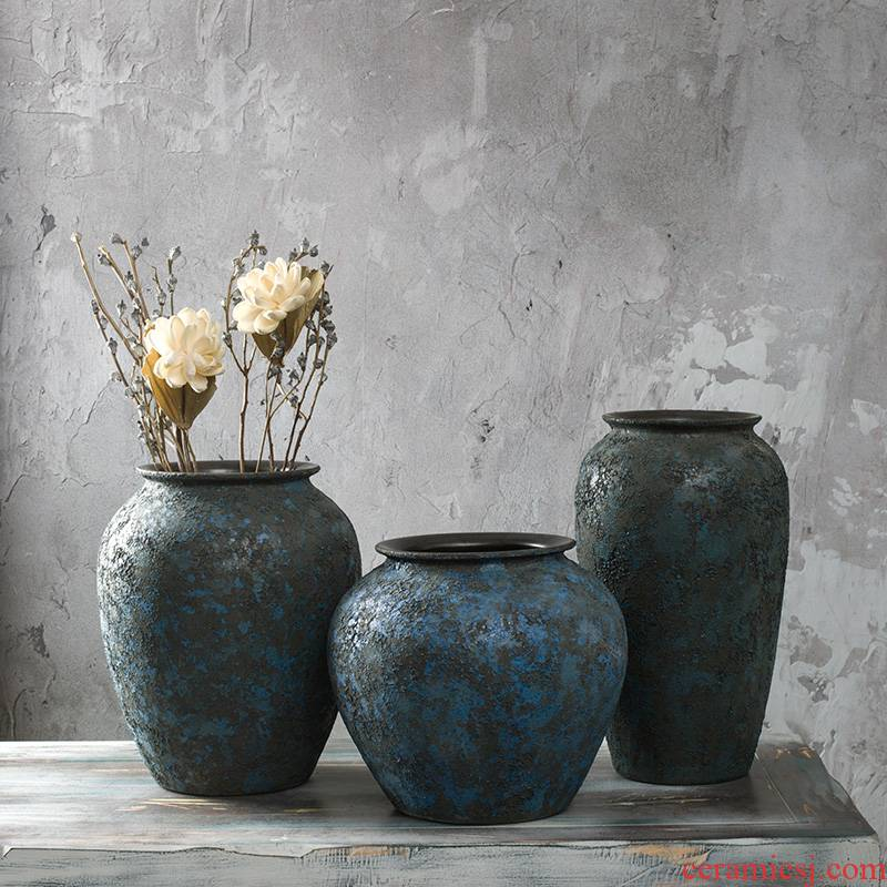 Jingdezhen ceramic POTS coarse pottery to restore ancient ways do old dried flower vase furnishing articles sitting room flower arranging creative household ornaments