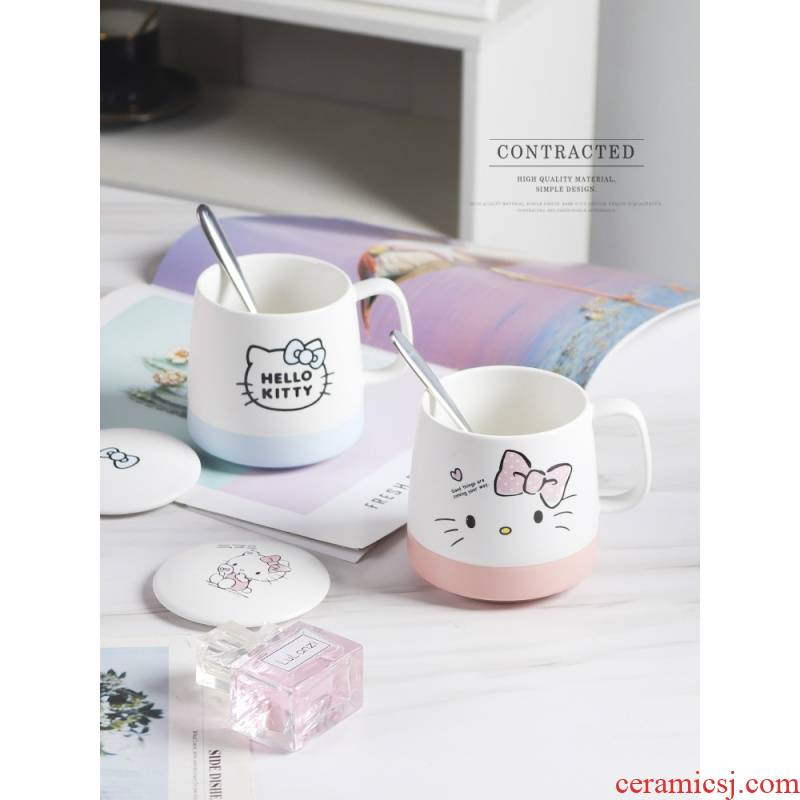 Edge lodge hello Kitty glass ceramic drinking cup hollekitty couples with a pair of express cartoon keller