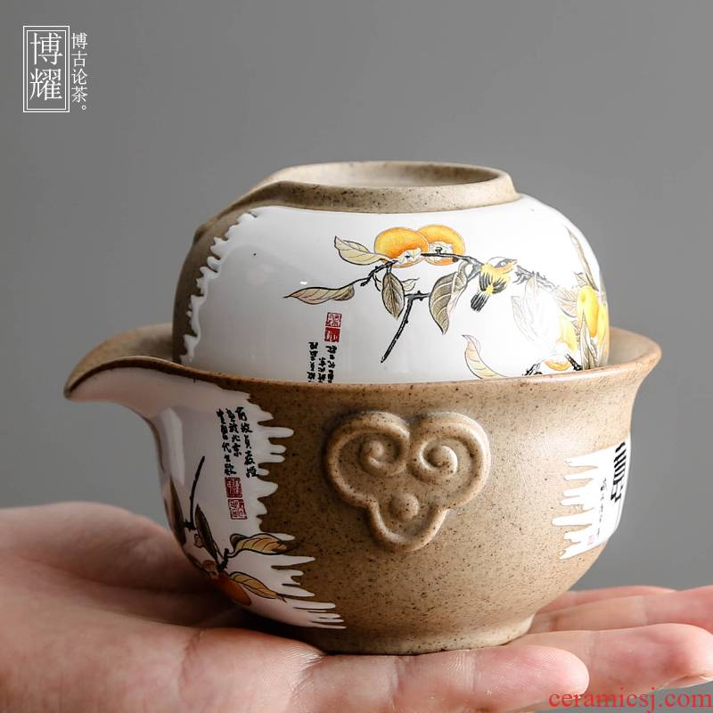 Bo yiu-chee work travel tea set ceramic cups restoring ancient ways is a pot of a crack cup office contracted teapot
