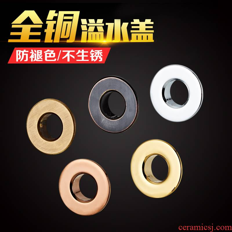 The Lavatory weir cooper decorative covers basin golden overflow spillway hole ring ceramic lavabo parts water ring