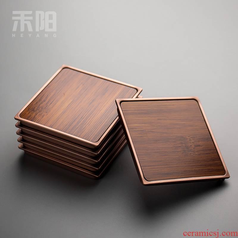 Send Yang or golden cup mat tea cup wood, bamboo cup mat cup Japanese tea cup holder frame tea MATS