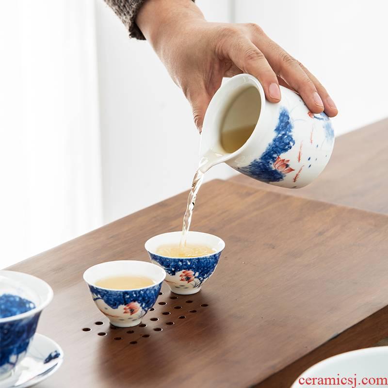 The high time points of tea ware ceramic hand - made lotus white porcelain fair keller kung fu tea tea, tea accessories