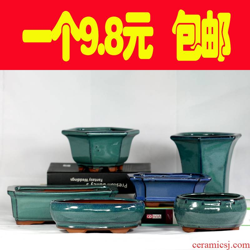 Purple sand pottery and porcelain bonsai POTS rectangle more than six square meat flower pot with ceramic creative special offer a clearance package mail