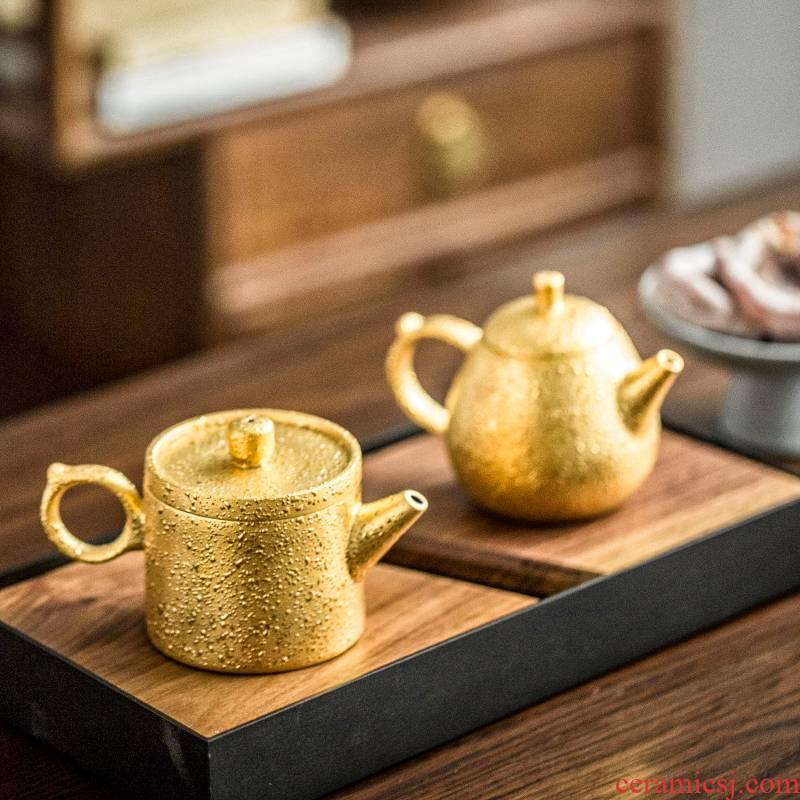 Morning high grind arenaceous gold ceramic teapot tea ware kung fu tea set 24 k gold mini gift box packaging the teapot