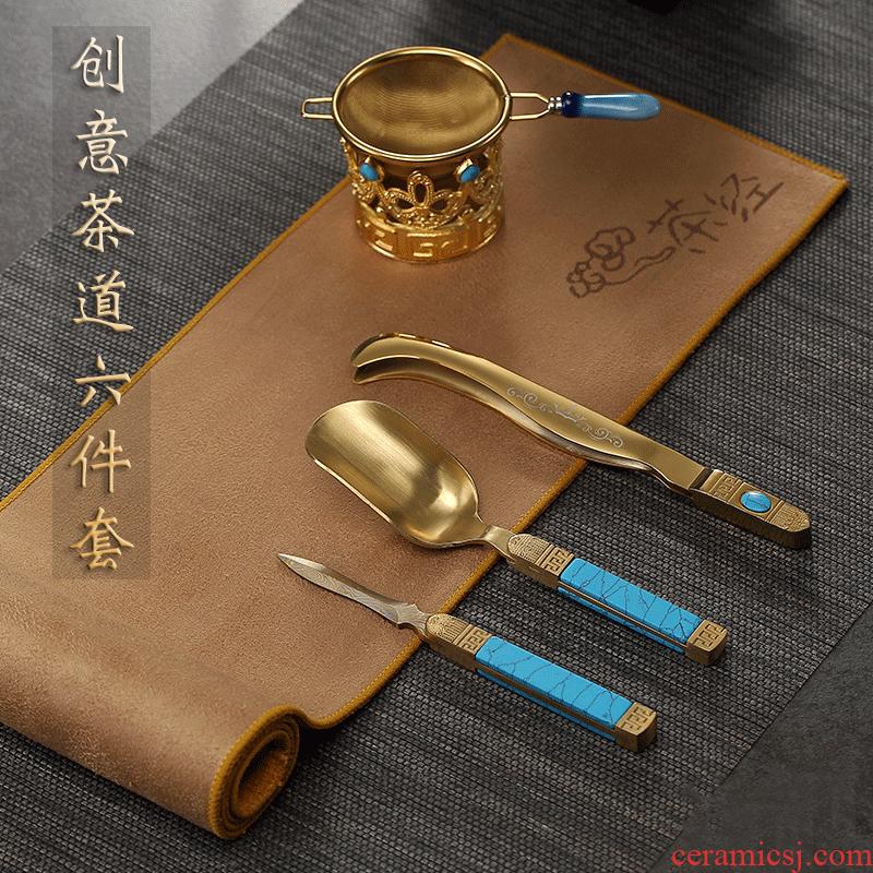 Morning high turquoise, kung fu tea set 6 gentleman dresses pu - erh tea set catalog fittings) tea towel