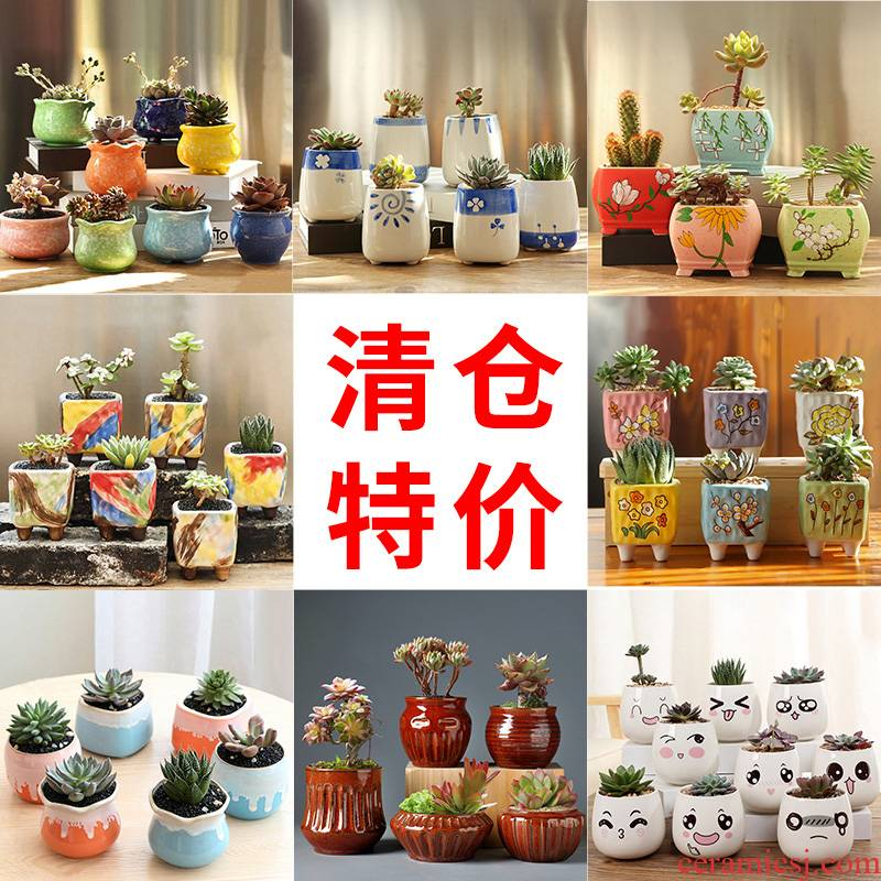 Fleshy flowerpot pack mail special offer a clearance package combination of creative move coarse pottery breathable flesh pottery pot the plants