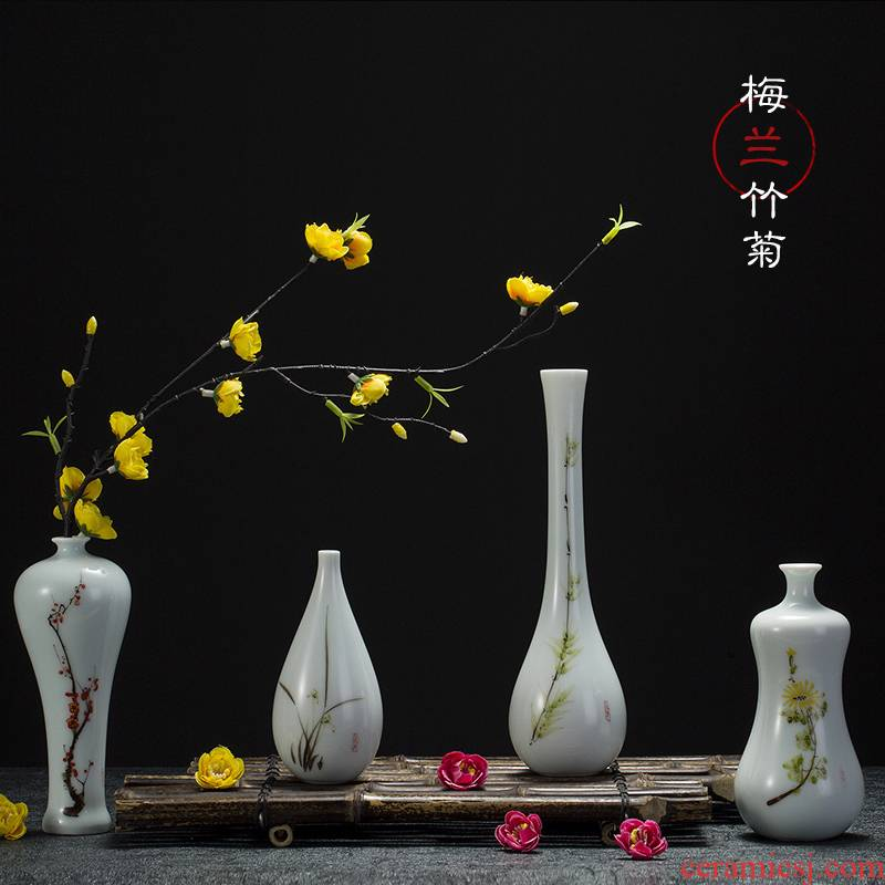 Jingdezhen hand - made ceramic floret bottle of new Chinese style living room TV cabinet simulation flowers, flower arrangement, household adornment furnishing articles