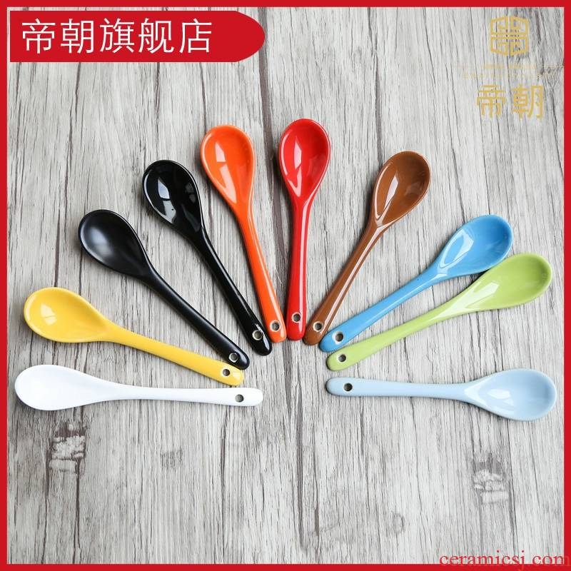 Emperor toward the color long handle ceramic spoon stir coffee milk spoon run rice ice cream spoon honey spoon