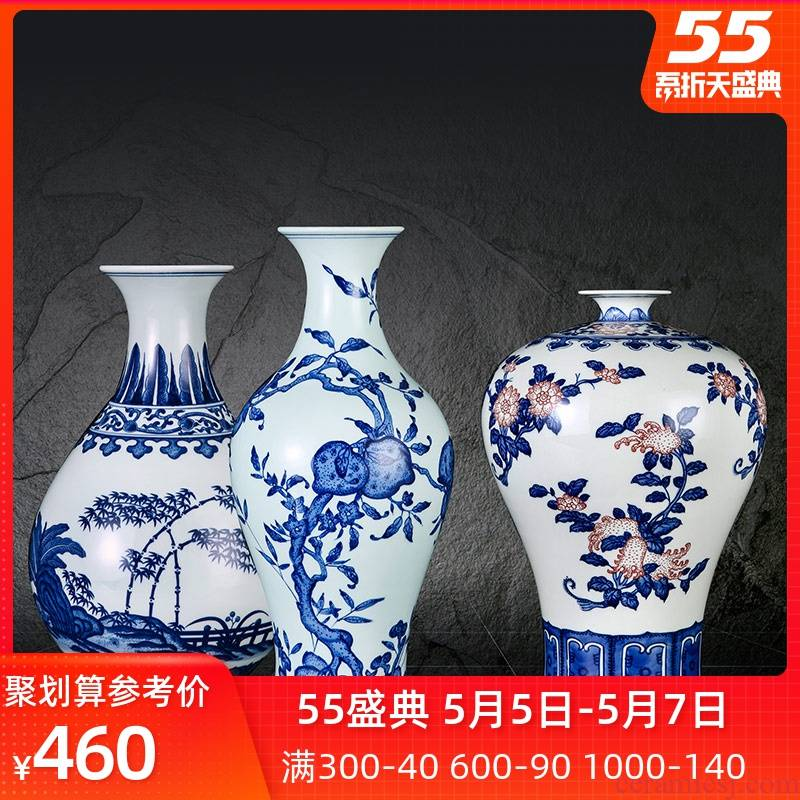 Jingdezhen ceramics vase hand - made archaize large blue and white porcelain is the sitting room of Chinese style household furnishing articles peach dried flower arrangement