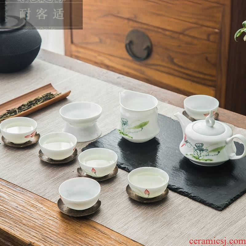 Hold to guest comfortable jingdezhen hand - made tea set kung fu tea set thin body of blue and white porcelain cup teapot household gift LO