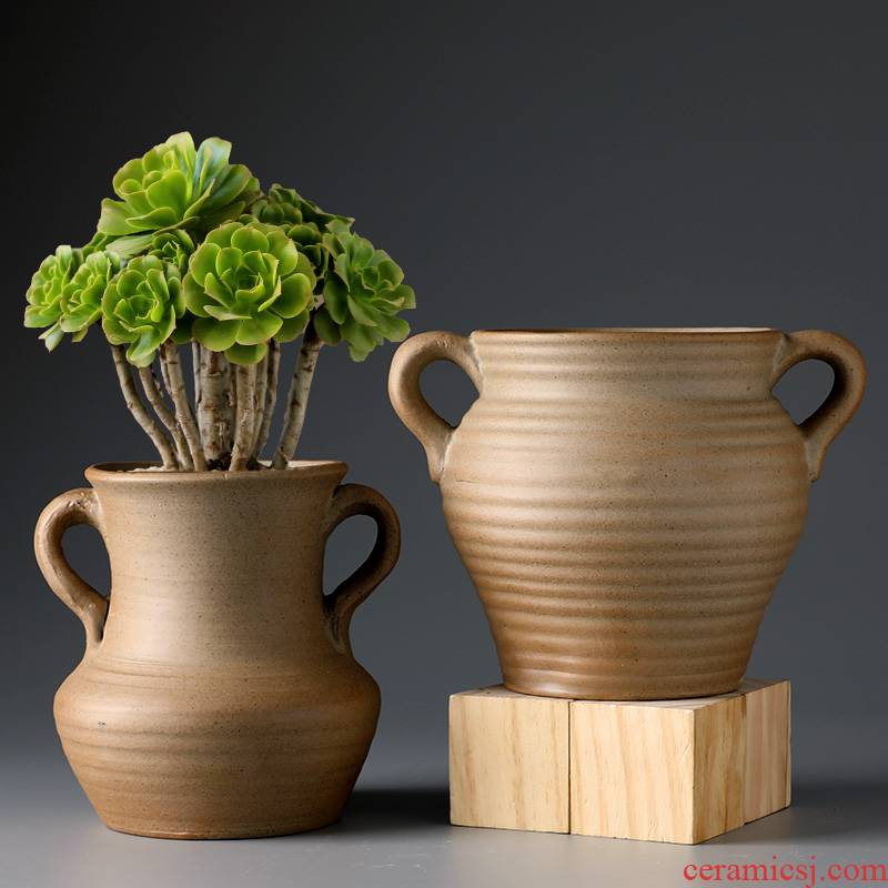 Fleshy flowerpot coarse pottery breathable restoring ancient ways of large diameter oversized meat meat platter old running high porcelain pot the plants specials