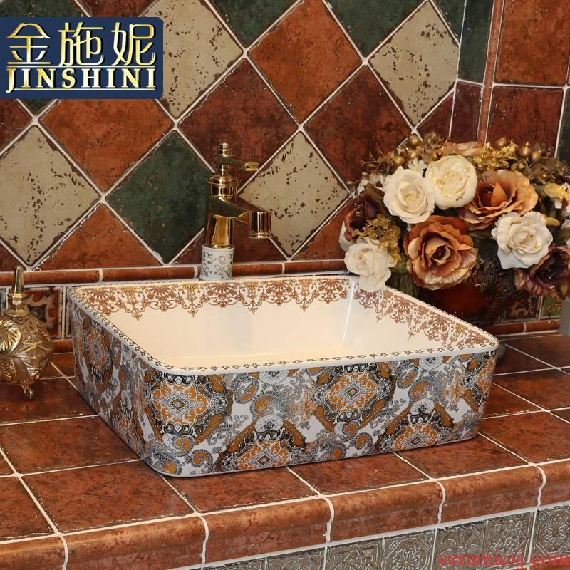 Gold cellnique jingdezhen ceramic lavatory hands pool bathroom art basin with rich European stage basin money illusions
