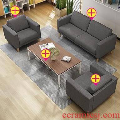 Cafe combination studio office business reception sofa cloth art sofa tea table 1.7 meters long European household