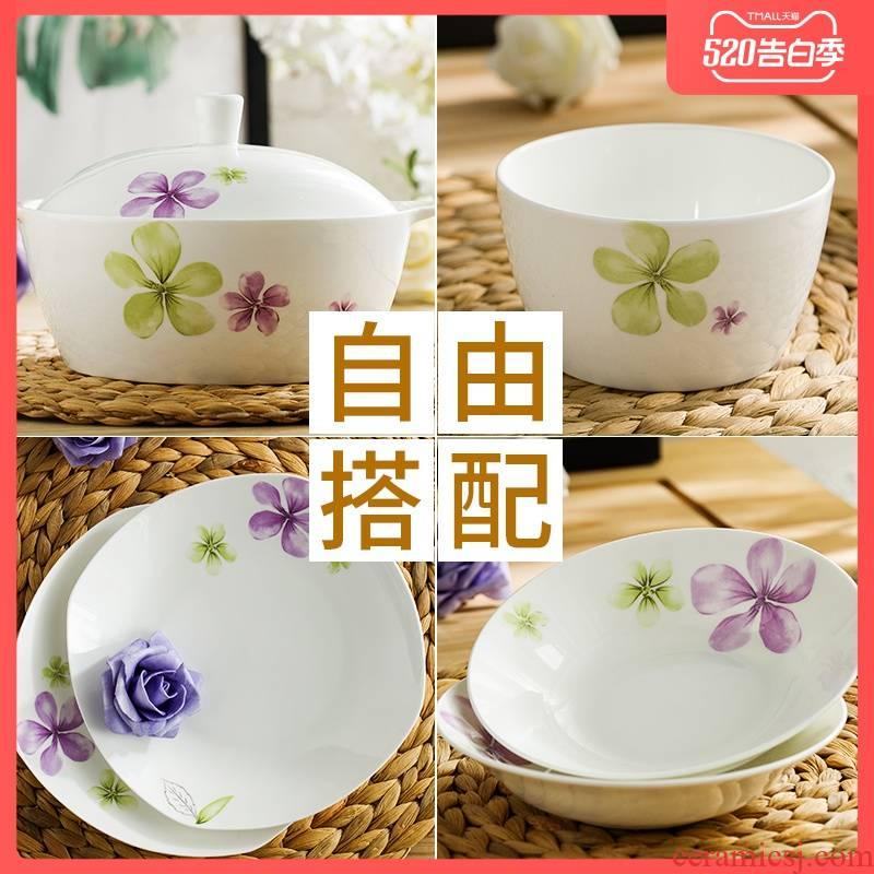 Garland ipads porcelain tableware Korean dishes plate optional combinations contracted microwave ceramic bowl dishes