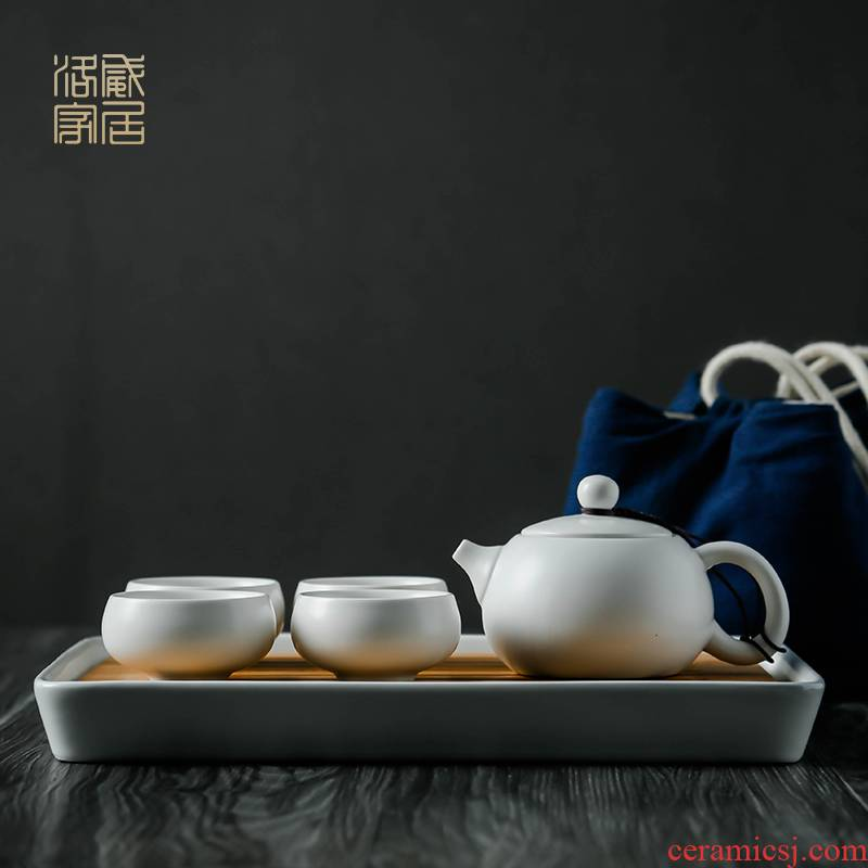 , white porcelain tea set household contracted portable travel to crack a small set of kung fu tea cups tea tray