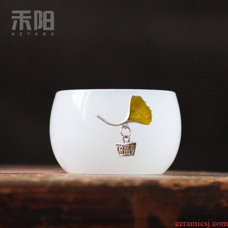 Send Yang XFX aquamarine porcelain coloured glaze porcelain cups, small sample tea cup masters cup single cup of tea light coloured glaze kung fu tea set
