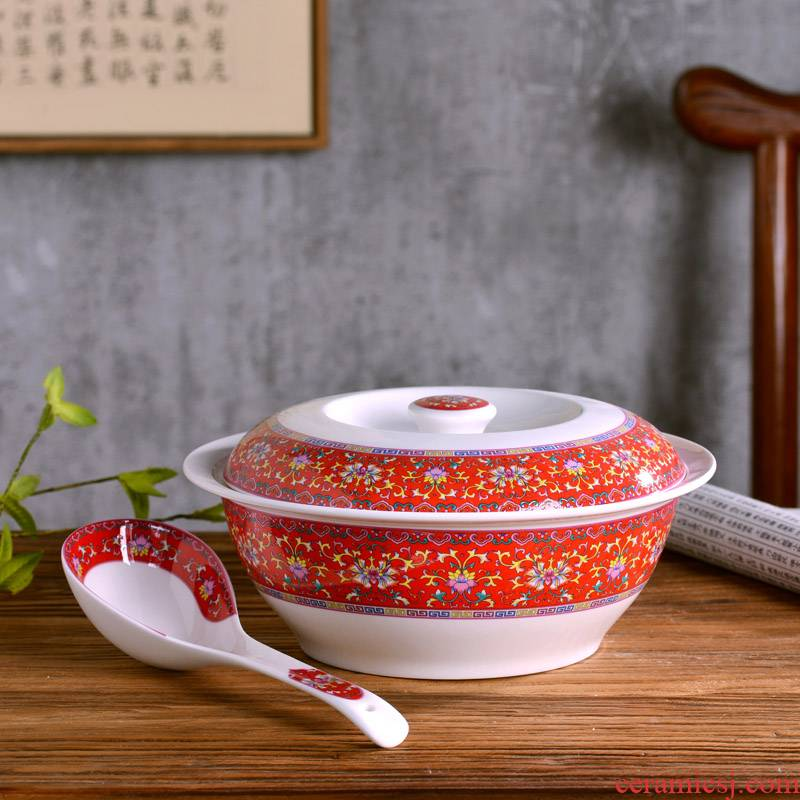 Jingdezhen ceramics high - capacity ceramic soup basin product pot soup bowl Chinese style household big spoon, creative archaize to use