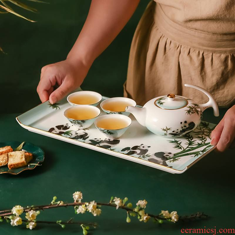 Ipads China kung fu tea set manually paint Chinese style household teapot tea sets tea tray in the living room