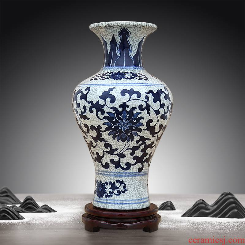 Jingdezhen ceramic vase furnishing articles guanyao antique Chinese blue and white lotus flower sitting room put vase decoration