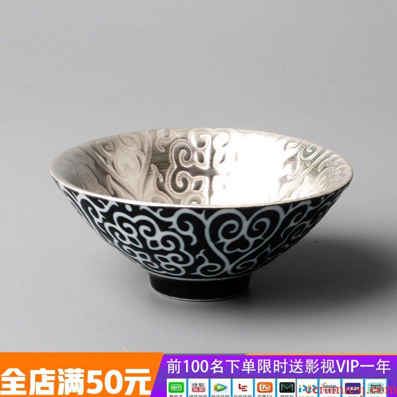 Silver cup 999 sterling Silver hand coppering. As ceramic sample tea cup Silver cup perfectly playable cup bowl Silver cup gift master