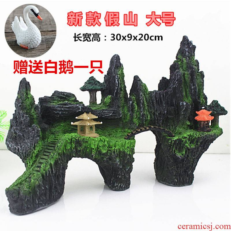 With ceramic aquarium large plate fish pond water into which decorative furnishing articles loop filter courtyard artificial rockwork