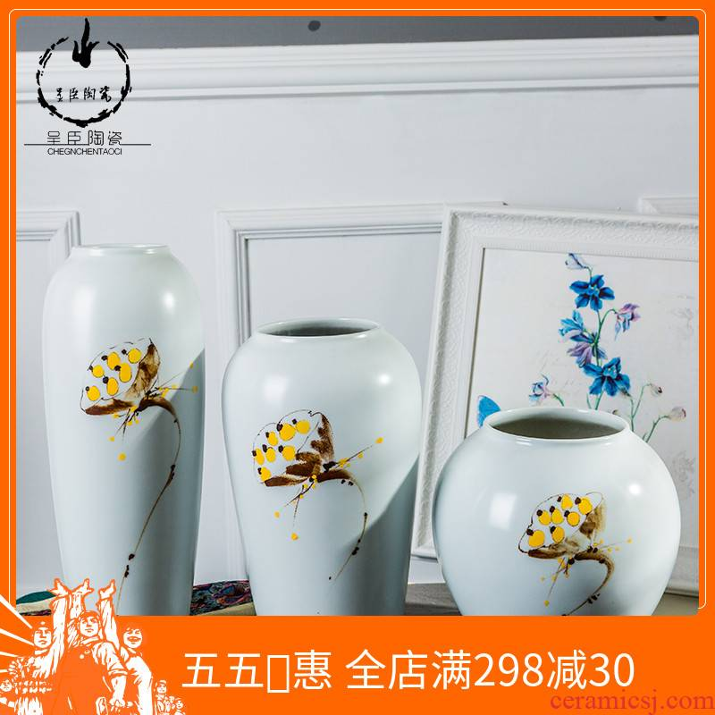 Home decoration Chinese vase furnishing articles three - piece hand - made jingdezhen ceramic vases, flower arrangement craft small place