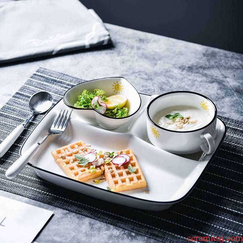 Creative meal plate ceramic tableware suit household children in kindergarten student canteen compartment FanPan bowl of separation