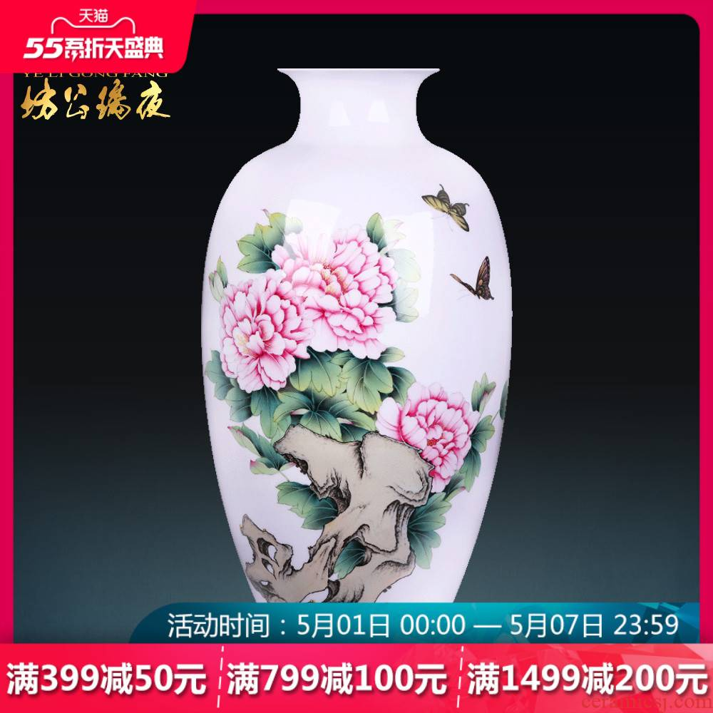 Jingdezhen hand - made ceramic famille rose blooming flowers, flower vase Chinese handicraft home sitting room adornment is placed