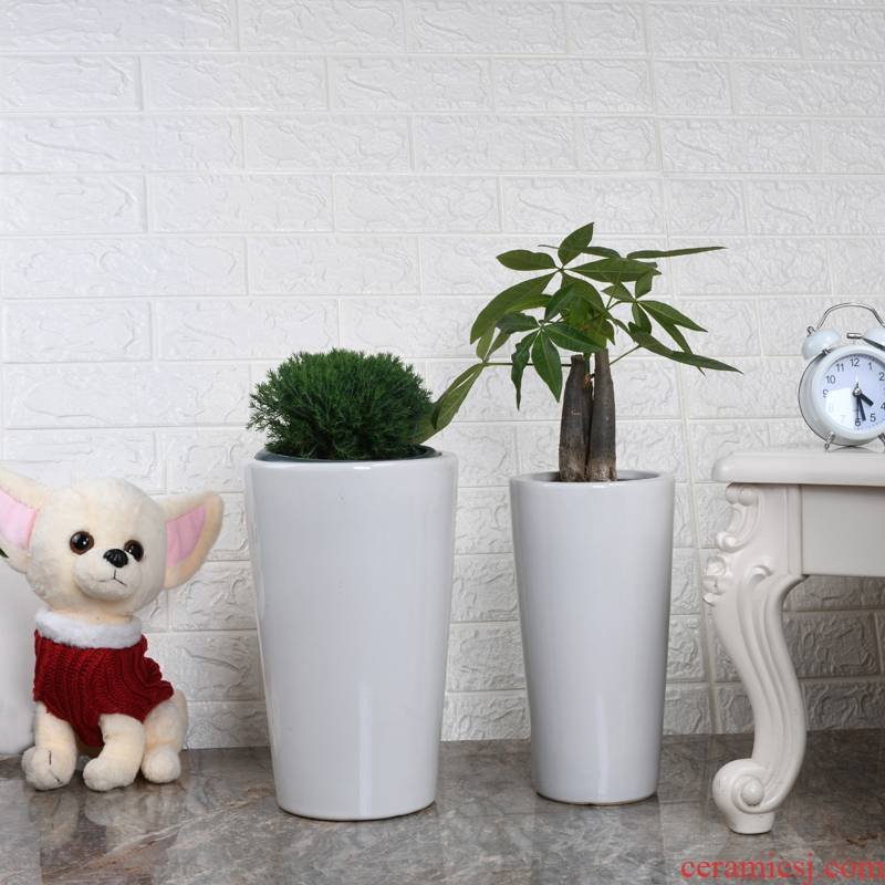 Cylindrical flowerpot ceramics high oversized model of green plant POTS get rich tree planter bag wholesale contracted sitting room office mail