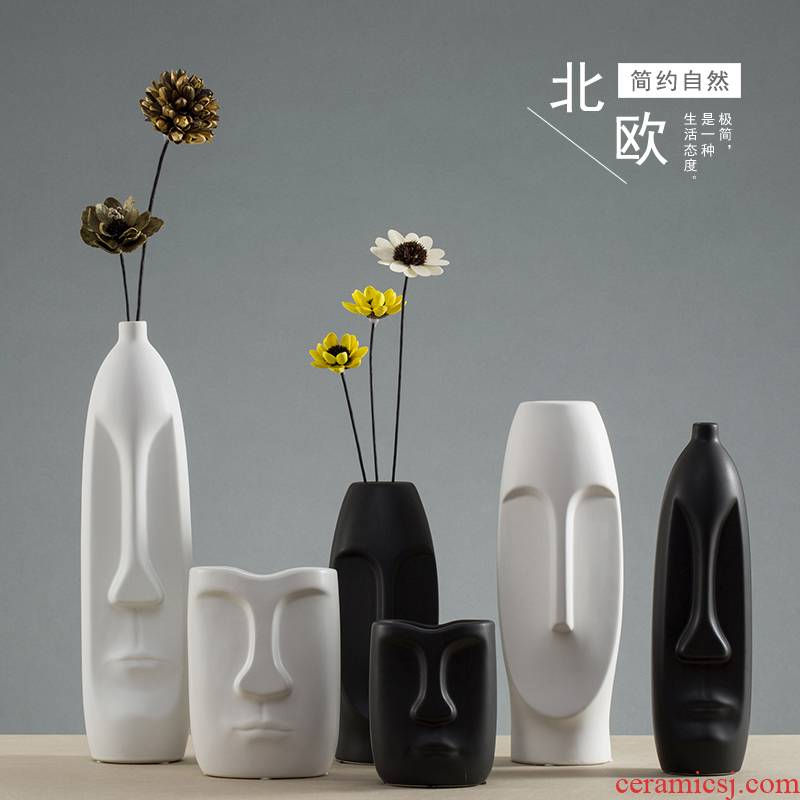 The Nordic idea vase furnishing articles dried flower simulation flowers flower arrangement sitting room home decoration simple ceramic small and pure and fresh flowers