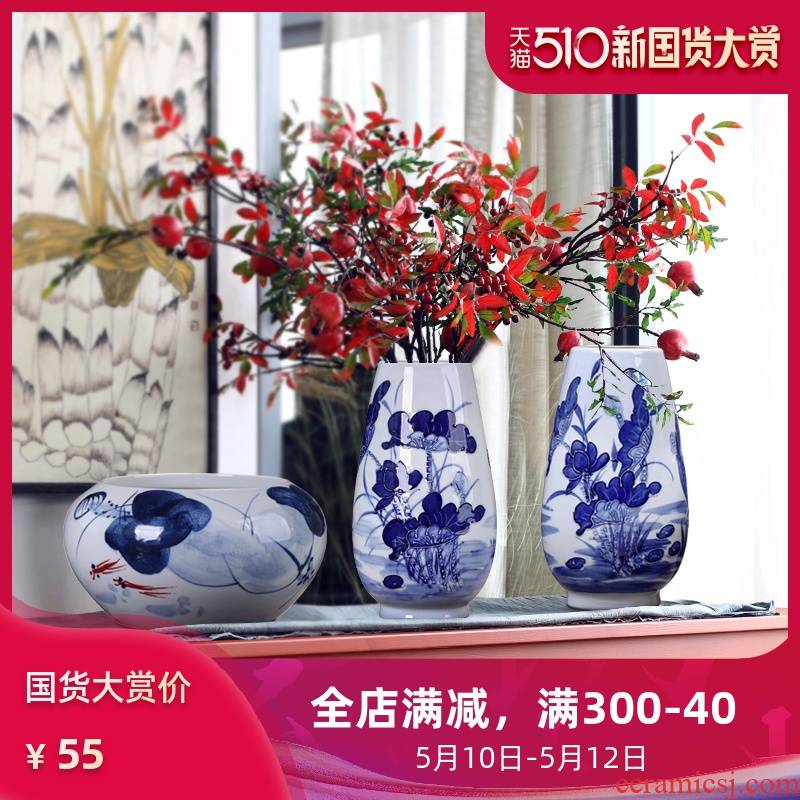 Jingdezhen ceramic three suits for modern put dry vase hand - made vases, the sitting room TV wine rich ancient frame furnishing articles