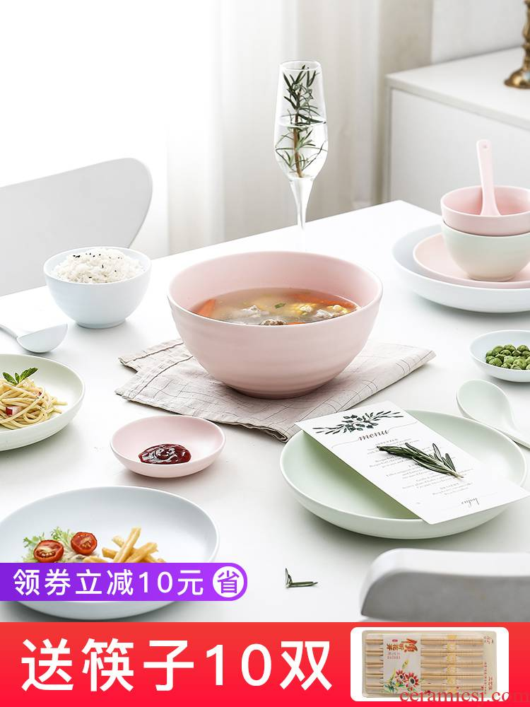 E best la dish bowl suit ceramic creative dishes Nordic contracted the 2-4-6 people with gifts sweethearts bowl chopsticks tableware