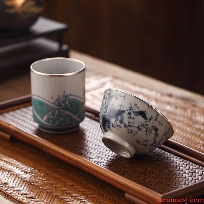"""Morning high jingdezhen blue and white hand sample tea cup """"cloud masters cup silver serging individual cup single CPU kung fu tea cups"""