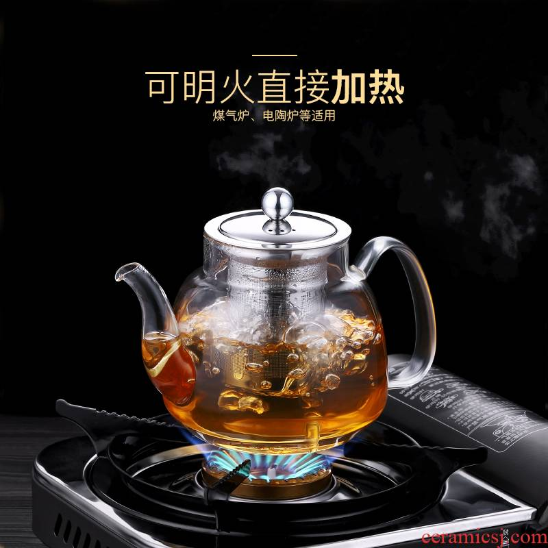 Di - small hot boiling water tea tea sets household special high - temperature thickening glass TaoLu boiled tea pot of tea