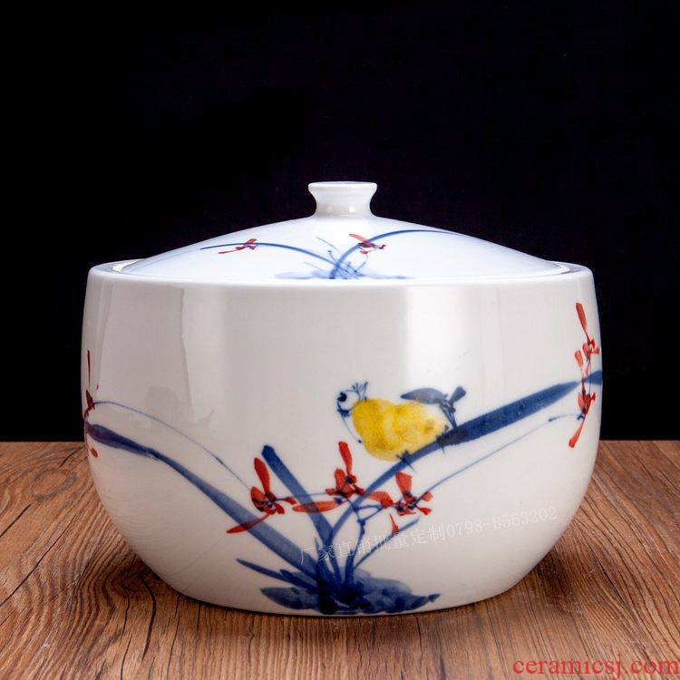 Jingdezhen hand - made ceramic barrel ricer box with cover 20 jins 30 jins 10 the loaded tank water storage tank sealing surface of the cylinder