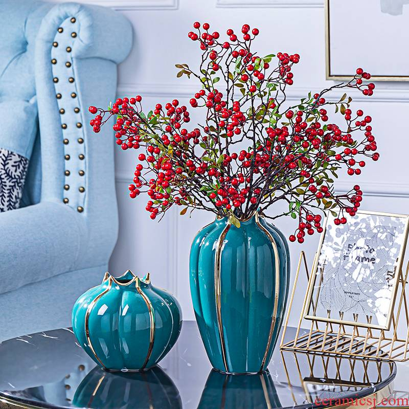 Light European - style key-2 luxury ceramic vase I sitting room porch place American TV ark, the table dry flower decoration decoration