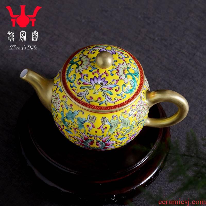 Ceramic Clock home high - end up with jingdezhen manual hand - made colored enamel teapot single pot teapot kung fu tea set the teapot
