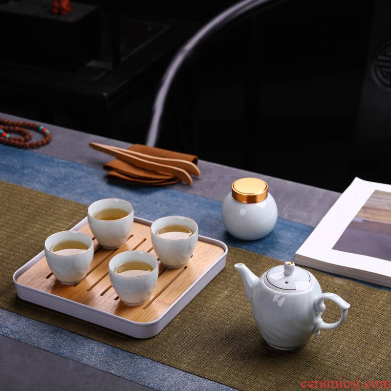 Kung fu tea set jingdezhen ceramic household teapot travel portable 7 head up phnom penh of a complete set of tea sets